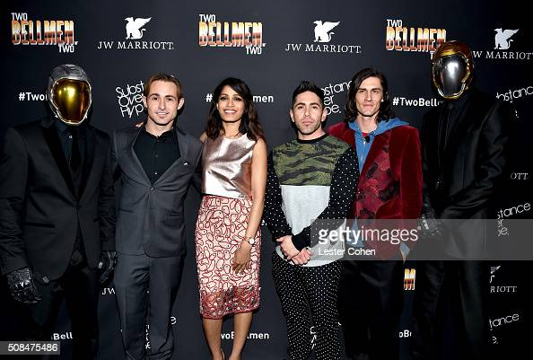 Actor Caine Sinclair actress Freida Pinto director/writer Daniel Malakai Cabrera and actor William Spencer arrive at the world premiere of 'Two...