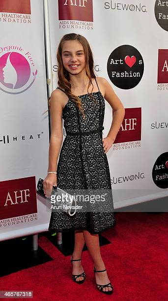 Actor Caitin Carmichael arrives at the Sue Wong fashion show 'Mythos and Goddesses' at the Taglyan Cultural Complex on March 9 2015 in Hollywood...