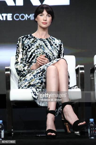 Actor Caitriona Balfe of 'Outlander' speaks onstage during the Starz portion of the 2017 Summer Television Critics Association Press Tour at The...