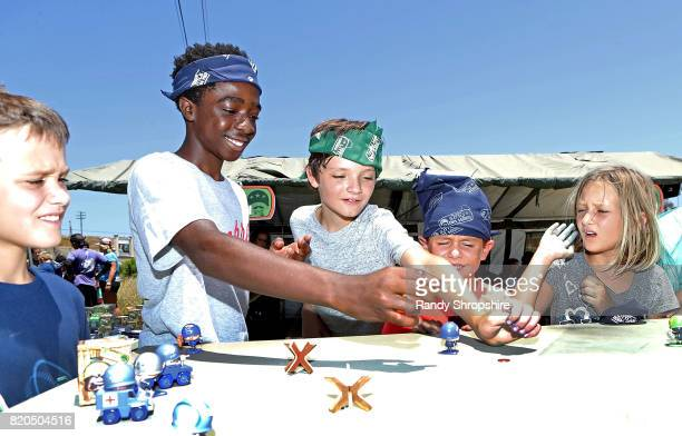 Actor Caleb McLaughlin and guests attend Awesome Little Green Men battle at paintball park at Camp Pendleton on July 20 2017 in Oceanside California
