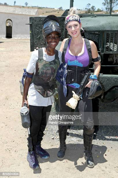 Actor Caleb McLaughlin and professional paintball player Callista Moseley attend Awesome Little Green Men battle at paintball park at Camp Pendleton...