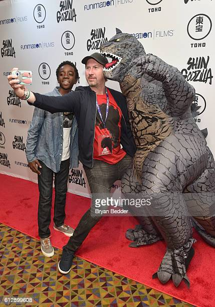 Actor Caleb McLaughlin and Scott Lonski of FUNimation Entertainment attend the 'Shin Godzilla' premiere presented by Funimation Films at AMC Empire...