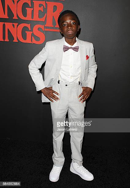 Actor Caleb McLaughlin attends the premiere of 'Stranger Things' at Mack Sennett Studios on July 11 2016 in Los Angeles California