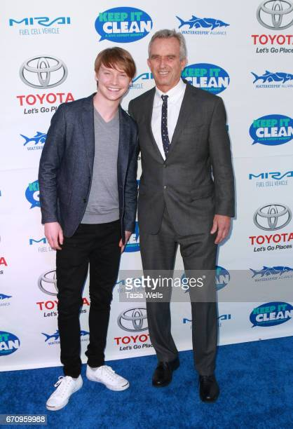 Actor Calum Worthy and radio host Robert F Kennedy Jr attend Keep it Clean Live Comedy Benefit for Waterkeeper Alliance at Avalon Hollywood on April...