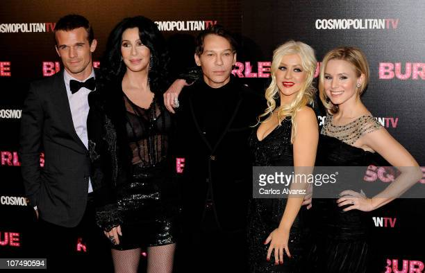 Actor Cam Gigandet Cher director Steven Antin Christina Aguilera and Kristen Bell attend 'Burlesque' premiere at Callao cinema on December 9 2010 in...