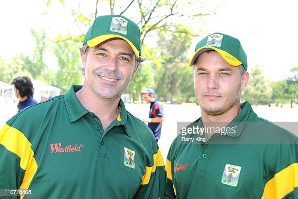 Actor Cameron Daddo and actor Travis Fimmel attend the Westfield Hollywood Ashes Cricket Match held at Woodley Park Cricket Field on May 9 2009 in...