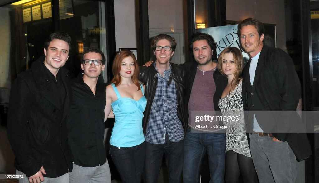 Actor Cameron Deane Stewart, actor Marc Donato, actress Amand Alch, director Matthew Spradlin, actor Kevin Ryan, actress Augie Duke and actor <a gi-track='captionPersonalityLinkClicked' href=/galleries/search?phrase=Jason+Lewis&family=editorial&specificpeople=203274 ng-click='$event.stopPropagation()'>Jason Lewis</a> arrive for the Screening Of 'Bad Kids Go To Hell' held at Laemmle Music Hall Theater on December 7, 2012 in Beverly Hills, California.