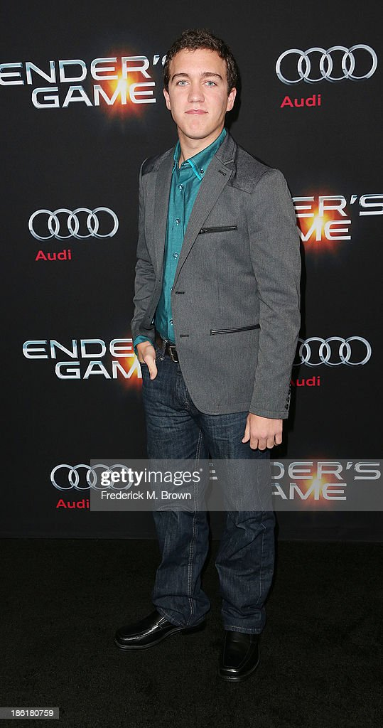 Actor Cameron Gaskins attends the Premiere of Summit Entertainment's 'Ender's Game' at the TCL Chinese Theatre on October 28, 2013 in Hollywood, California.
