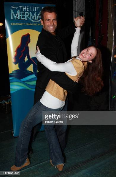 Actor Cameron Mathison poses with Actress Sierra Boggess as he visits backstage at 'Disney's The Little Mermaid' on Broadway at The Lunt Fontanne...