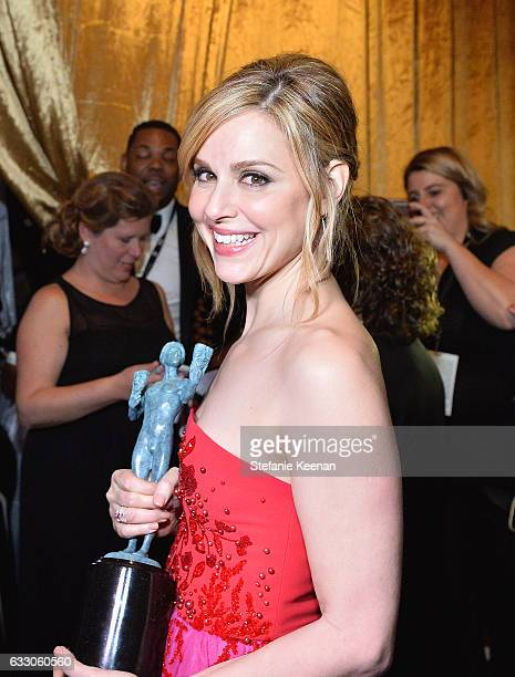 Actor Cara Buono winner of the Outstanding Ensemble in a Drama Series award for 'Stranger Things' poses in the press room during The 23rd Annual...