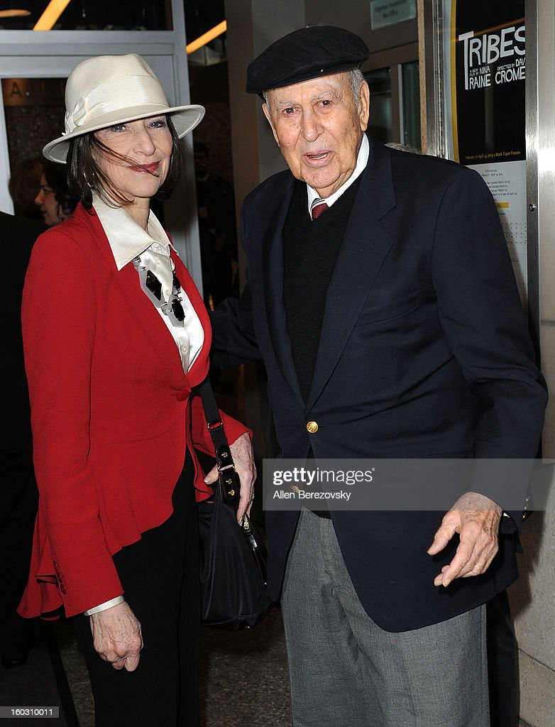 Actor <a gi-track='captionPersonalityLinkClicked' href=/galleries/search?phrase=Carl+Reiner&family=editorial&specificpeople=660635 ng-click='$event.stopPropagation()'>Carl Reiner</a> and a guest arrive at the 'Enter Laughing, The Musical' staged reading and benefit at Mark Taper Forum on January 28, 2013 in Los Angeles, California.