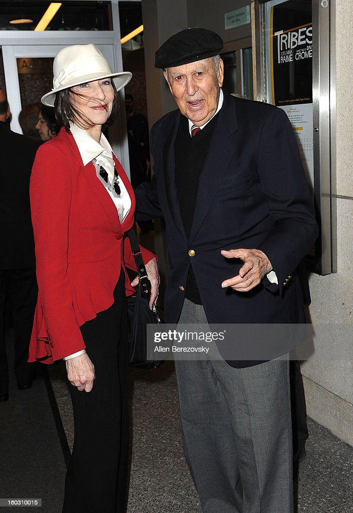Actor Carl Reiner and a guest arrive at the 'Enter Laughing, The Musical' staged reading and benefit at Mark Taper Forum on January 28, 2013 in Los Angeles, California.