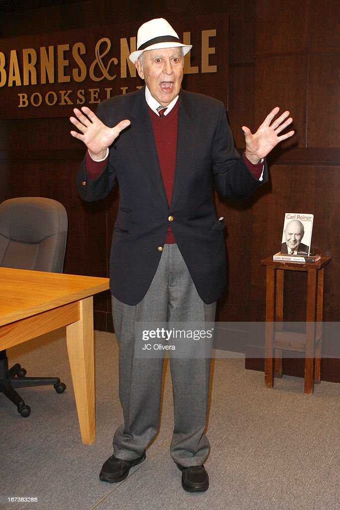 Actor <a gi-track='captionPersonalityLinkClicked' href=/galleries/search?phrase=Carl+Reiner&family=editorial&specificpeople=660635 ng-click='$event.stopPropagation()'>Carl Reiner</a> signs copies of his memoir 'I Remember Me' at Barnes & Noble bookstore at The Grove on April 24, 2013 in Los Angeles, California.