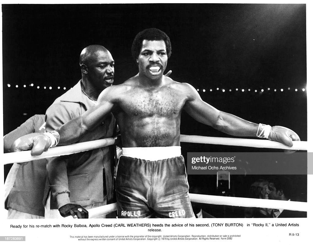 Actor <a gi-track='captionPersonalityLinkClicked' href=/galleries/search?phrase=Carl+Weathers&family=editorial&specificpeople=791982 ng-click='$event.stopPropagation()'>Carl Weathers</a> on set of the United Artist movie 'Rocky II' in 1979.