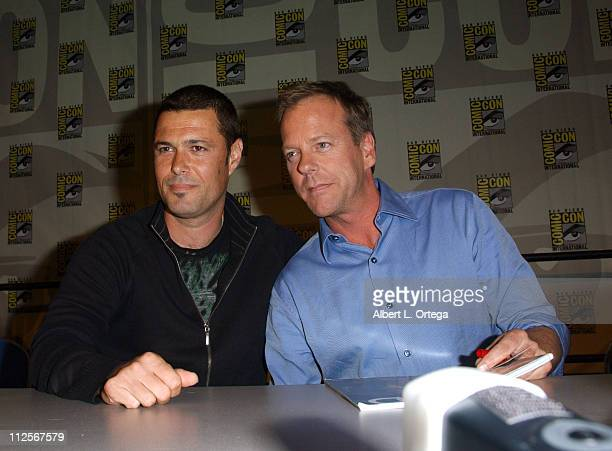 Actor Carlos Bernard and actor Kiefer Sutherland attend the 2008 ComicCon International on July 25 2008 at the San Diego Convention Center in San...