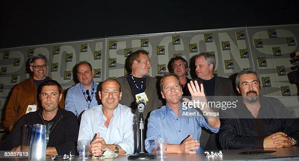 Actor Carlos Bernard and actor Kiefer Sutherland with the writers and producers of 24 attend the 2008 ComicCon International on July 25 2008 at the...