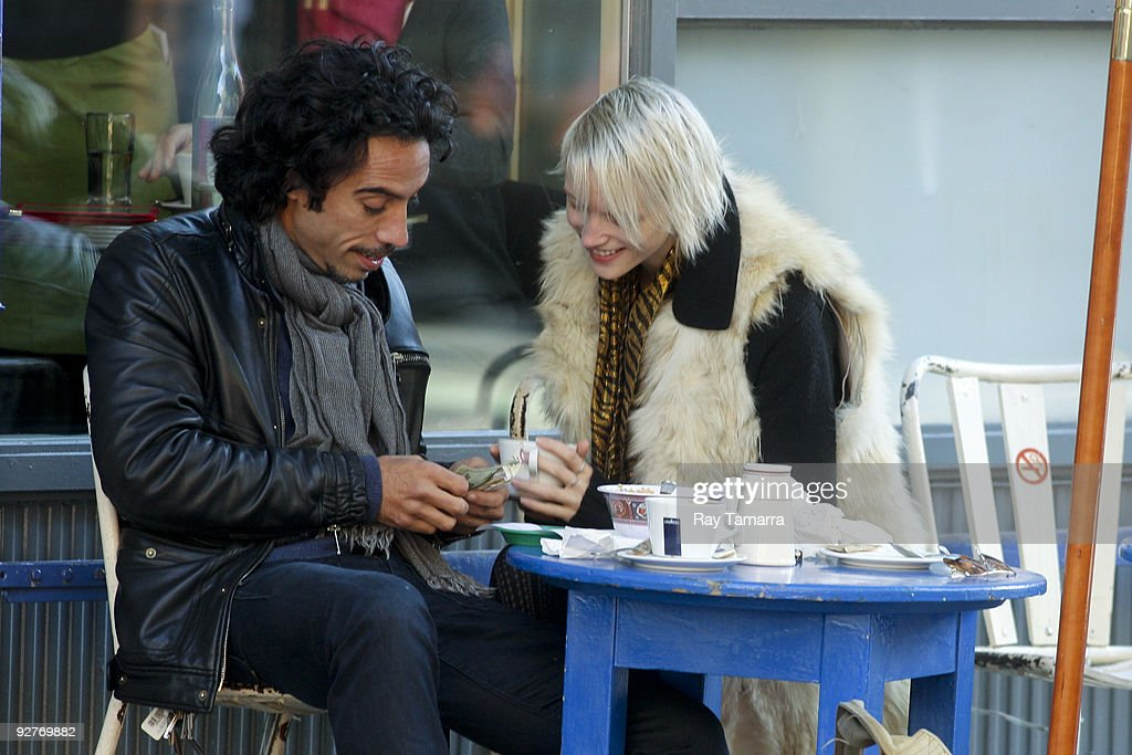 Actor <a gi-track='captionPersonalityLinkClicked' href=/galleries/search?phrase=Carlos+Leon&family=editorial&specificpeople=653413 ng-click='$event.stopPropagation()'>Carlos Leon</a> (L) and girlfriend eat at Cafe Gitane on November 04, 2009 in New York City.