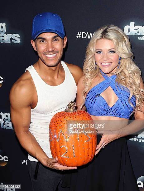 Actor Carlos PenaVega and TV personality/dancer Witney Carson attend 'Dancing with the Stars' Season 21 at CBS Television City on October 19 2015 in...