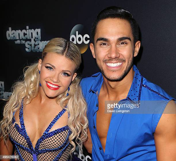 Actor Carlos PenaVega and TV personality/dancer Witney Carson attend 'Dancing with the Stars' Season 21 at CBS Televison City on November 2 2015 in...