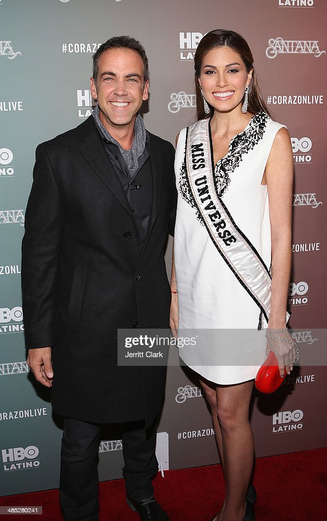 Actor Carlos Ponce and Miss Universe Gabriela Isler attends HBO Latino NYC Premiere of 'Santana: De Corazon' at Hudson Theatre on April 16, 2014 in New York City.