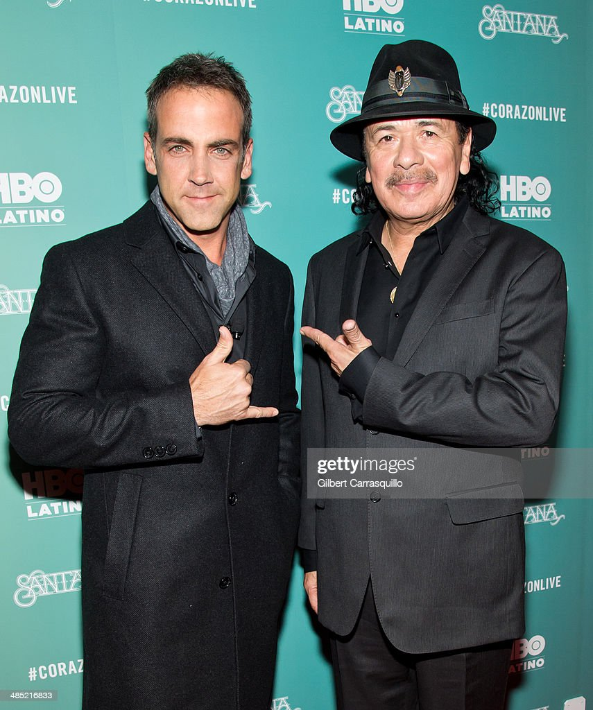 Actor <a gi-track='captionPersonalityLinkClicked' href=/galleries/search?phrase=Carlos+Ponce&family=editorial&specificpeople=215458 ng-click='$event.stopPropagation()'>Carlos Ponce</a> and musician Carlos Santana attend the 'Santana De Corazon' screening at The Hudson Theatre on April 16, 2014 in New York City.