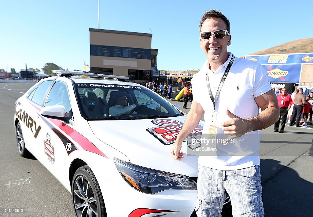 Actor <a gi-track='captionPersonalityLinkClicked' href=/galleries/search?phrase=Carlos+Ponce&family=editorial&specificpeople=215458 ng-click='$event.stopPropagation()'>Carlos Ponce</a> poses by the pace car during the NASCAR Sprint Cup Series Toyota/Save Mart 350 at Sonoma Raceway on June 26, 2016 in Sonoma, California.