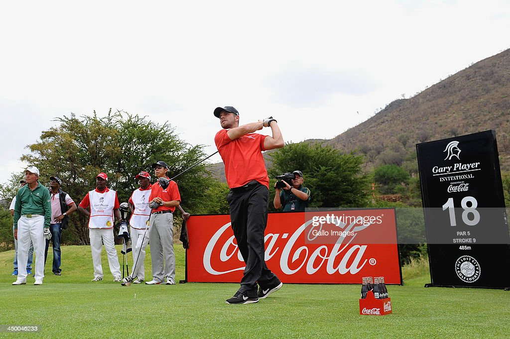 Actor Carmine Giovinazzo in action during Round 1 of the Gary Player Invitational presented by Coca-Cola at the Lost City Golf Course on November 16, 2013 in Sun City, South Africa.