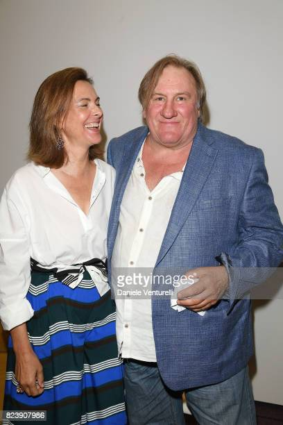Actor Carole Bouquet and Gerard Depardieu attend Nations Award press conference on on July 28 2017 in Taormina Italy