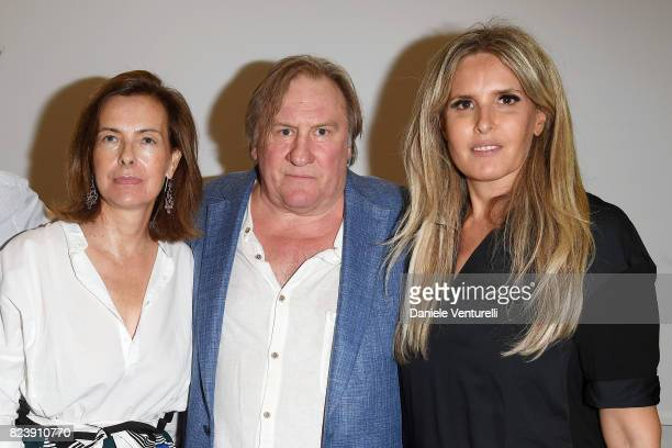 Actor Carole Bouquet Gerard Depardieu and Tiziana Rocca attend Nations Award press conference on on July 28 2017 in Taormina Italy