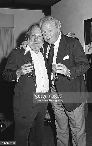 Actor Carroll O'Connor and Author Leslie Fiedler attend a reception for Dame Margot Fonteyn at the home of Vidal and Beverly Sassoon on June 1 1978...
