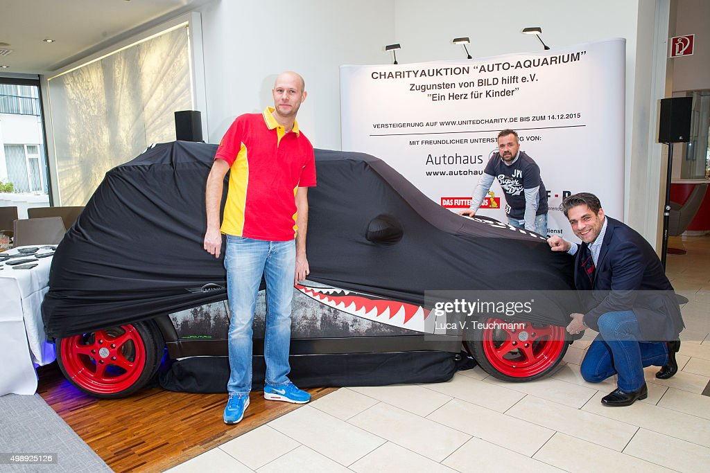 actor carsten spengemann christop schwarz and oliver mengelberg poses during the presentation of his charity - Compact Hotel 2015