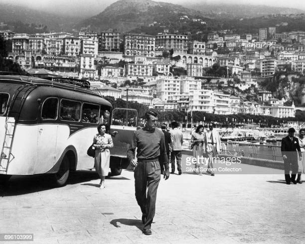 Actor Cary Grant as John Robie visiting Monaco in a scene from the Alfred Hitchcock thriller 'To Catch a Thief' 1955