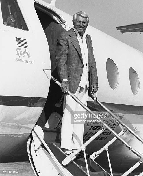 Actor Cary Grant disembarks from a flagship of the US Industrial Fleet circa 1980