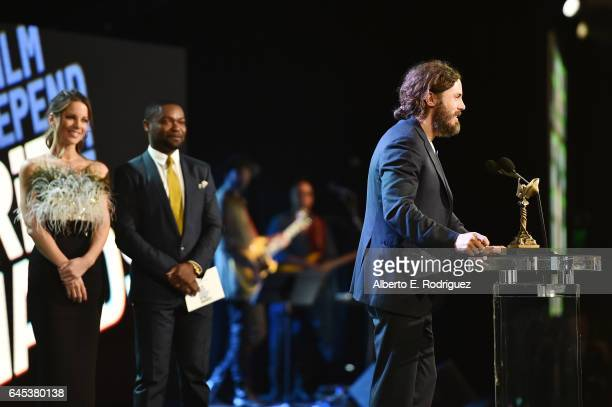 Actor Casey Affleck accepts the award for Best Male Lead for 'Manchester by the Sea' onstage during the 2017 Film Independent Spirit Awards at the...