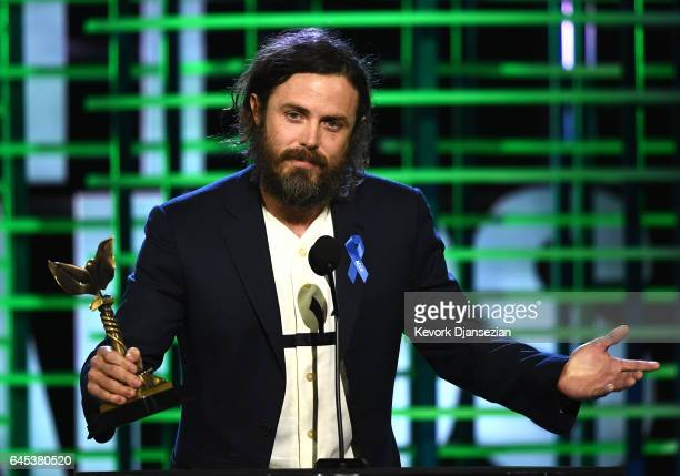 Actor Casey Affleck accepts the Best Male Lead award for 'Manchester by the Sea' onstage during the 2017 Film Independent Spirit Awards at the Santa...