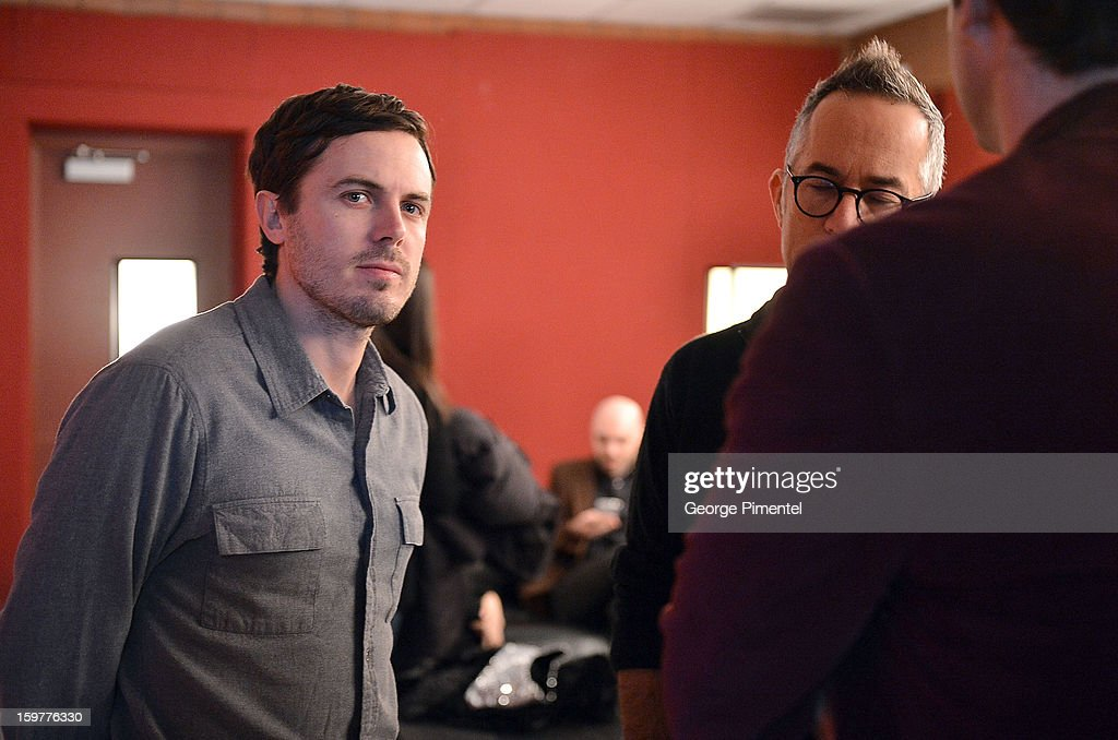 Actor <a gi-track='captionPersonalityLinkClicked' href=/galleries/search?phrase=Casey+Affleck&family=editorial&specificpeople=1539212 ng-click='$event.stopPropagation()'>Casey Affleck</a> and Director of the Sundance Film Festival John Cooper attend the 'Aint Them Bodies Saints' premiere at Eccles Center Theatre during the 2013 Sundance Film Festival on January 20, 2013 in Park City, Utah.
