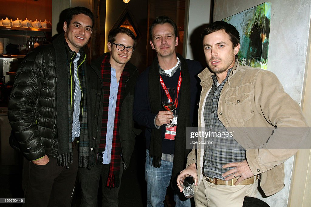 Actor <a gi-track='captionPersonalityLinkClicked' href=/galleries/search?phrase=Casey+Affleck&family=editorial&specificpeople=1539212 ng-click='$event.stopPropagation()'>Casey Affleck</a> (far right) and guests attend the Facebook & Sundance Institute Dinner at Riverhorse Cafe during the 2013 Sundance Film Festival on January 19, 2013 in Park City, Utah.