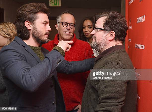 Actor Casey Affleck and writer/director Kenneth Lonergan attend the 'Manchester By The Sea' Premiere during the 2016 Sundance Film Festival at Eccles...