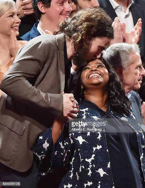 Actor Casey Affleck greets actress Octavia Spencer during the 89th Annual Academy Awards Nominee Luncheon at The Beverly Hilton Hotel on February 6...