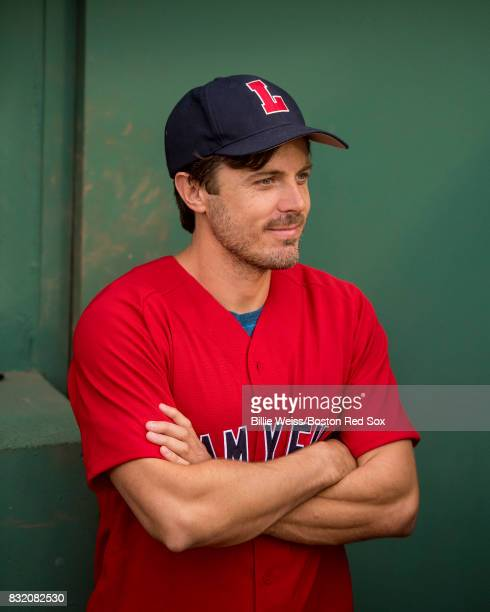 Actor Casey Affleck looks on before throwing out the ceremonial first pitch during a Jimmy Fund RadioTelethon pregame ceremony before a game between...