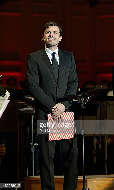 Actor Casey Affleck narrates ' 'Twas The Night Before Christmas' with Keith Lockhart and the Boston Pops at A Company Christmas At Pops at Symphony...