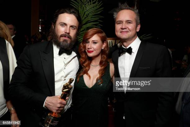 Actor Casey Affleck playwright Lila Feinberg and Head of Amazon Studios Roy Price attend the Amazon Studios Oscar Celebration at Delilah on February...