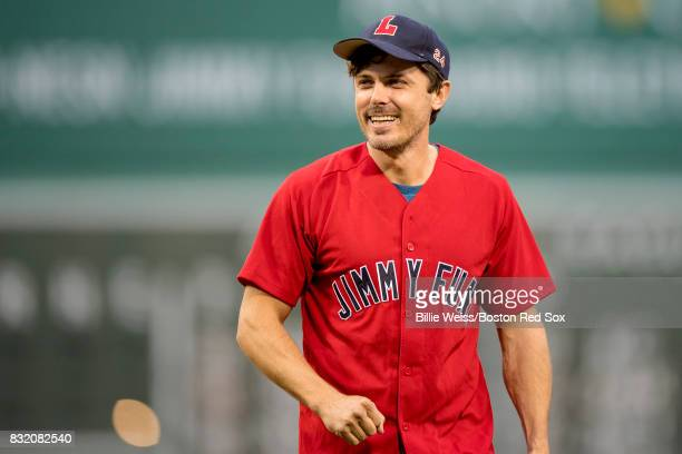 Actor Casey Affleck reacts after throwing out the ceremonial first pitch during a Jimmy Fund RadioTelethon pregame ceremony before a game between the...