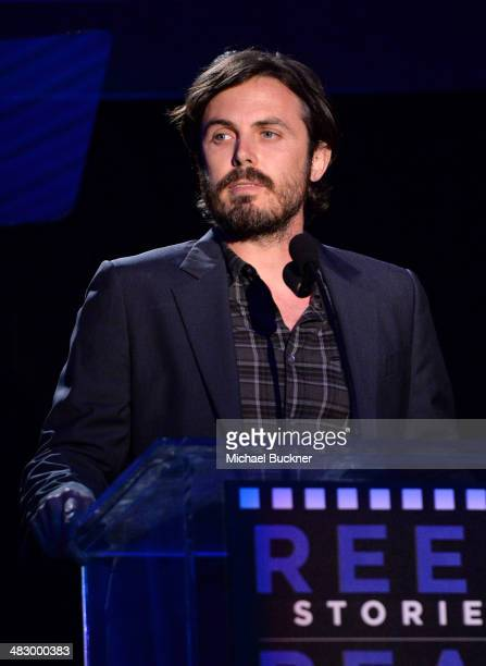 Actor Casey Affleck speaks onstage during the 3rd Annual Reel Stories Real Lives Benefiting The Motion Picture Television Fund at Milk Studios on...