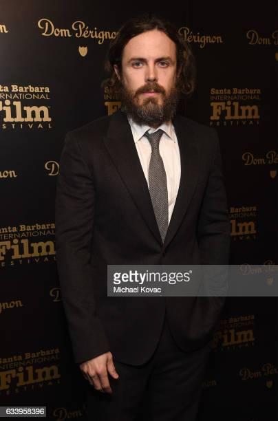 Actor Casey Affleck visits the Dom Perignon Lounge before receiving the Cinema Vanguard Award at The Santa Barbara International Film Festival on...