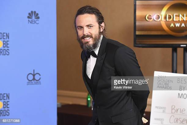 Actor Casey Affleck winner of Best Actor in a Motion Picture Drama for 'Manchester by the Sea' walks into the press room during the 74th Annual...
