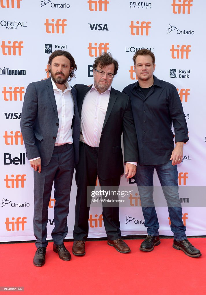 Actor Casey Affleck, writer/producer Kenneth Lonergan and producer Matt Damon attend the 'Manchester by the Sea' premiere during the 2016 Toronto International Film Festivalat at Princess of Wales Theatre on September 13, 2016 in Toronto, Canada.
