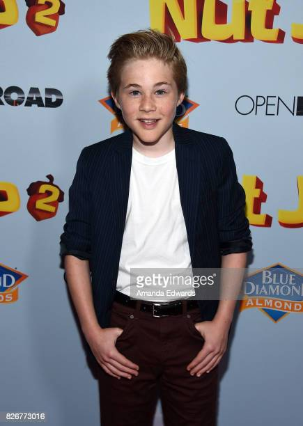 Actor Casey Simpson arrives at the premiere of Open Road Films' 'The Nut Job 2 Nutty By Nature' at the Regal Cinemas LA Live on August 5 2017 in Los...