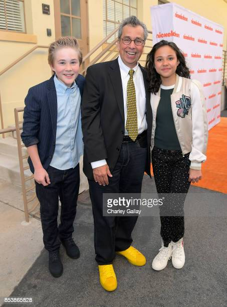 Actor Casey Simpson writer Chris Grabenstein and actor Breanna Yde at Nickelodeon's 'Escape From Mr Lemoncello's Library' premiere event at Paramount...