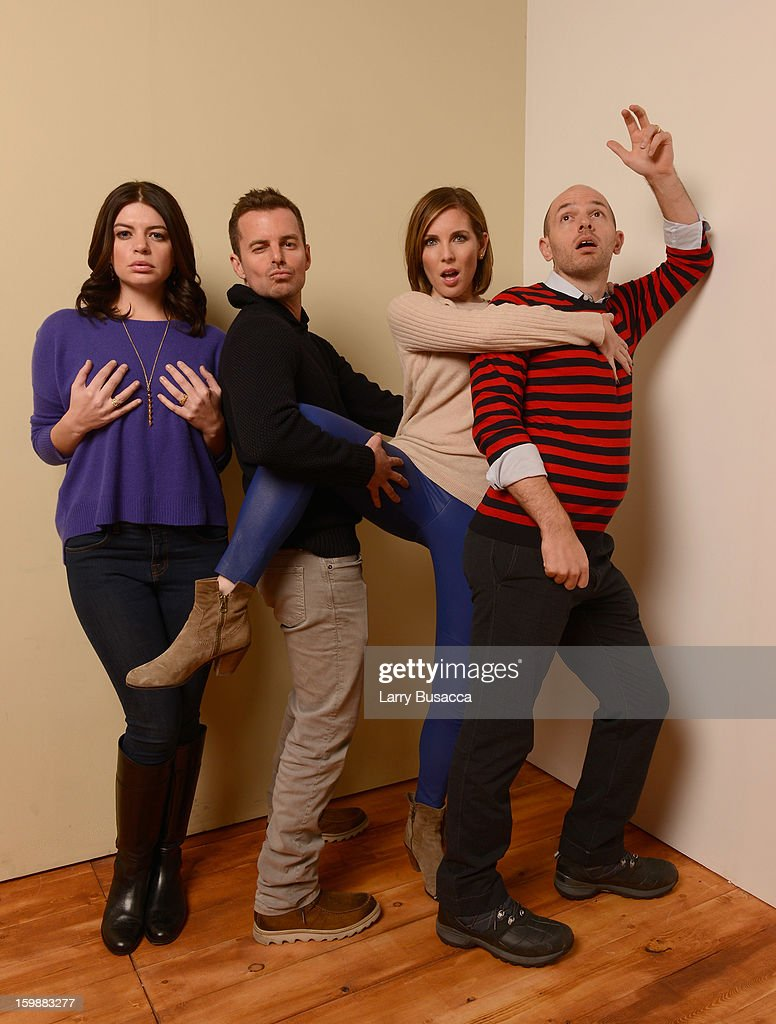 Actor <a gi-track='captionPersonalityLinkClicked' href=/galleries/search?phrase=Casey+Wilson&family=editorial&specificpeople=4980510 ng-click='$event.stopPropagation()'>Casey Wilson</a>, director Chris Nelson, actors <a gi-track='captionPersonalityLinkClicked' href=/galleries/search?phrase=June+Diane+Raphael&family=editorial&specificpeople=5923890 ng-click='$event.stopPropagation()'>June Diane Raphael</a> and <a gi-track='captionPersonalityLinkClicked' href=/galleries/search?phrase=Paul+Scheer&family=editorial&specificpeople=805513 ng-click='$event.stopPropagation()'>Paul Scheer</a> pose for a portrait during the 2013 Sundance Film Festival at the Getty Images Portrait Studio at Village at the Lift on January 21, 2013 in Park City, Utah.